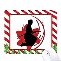 武士道武士の刀を持つシルエットさくら日本アジア ゴムクリスマスキャンディマウスパッド