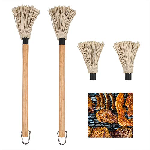 YuCool, 2 mocio professionale per barbecue con manico in legno, testa lavabile con 2 testine di ricambio extra per cottura arrosti, grigliate