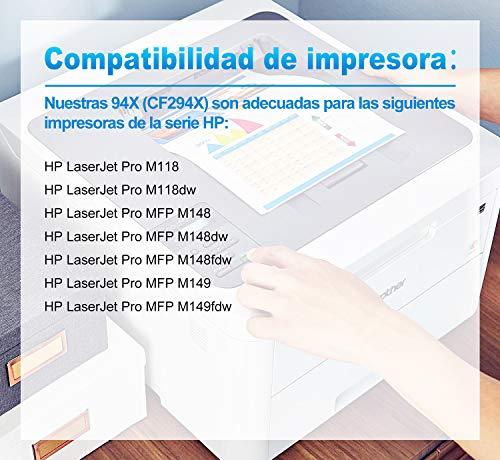Clywenss 94X CF294X High Yield Cartuchos de tóner Compatible Reemplazo para HP CF294X 94X para HP LaserJet Pro M118 M118dw LaserJet Pro MFP M148 M148dw M148fdw M149 M149fdw Impresora CON CHIP, 2 Negro