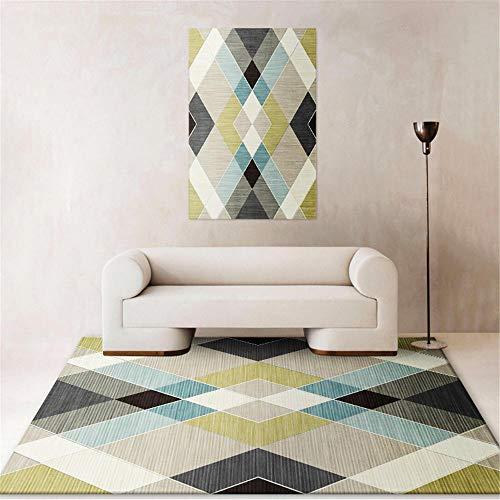 Kunsen Balkonteppich Kreativer geometrischer Abstrakter moderner Teppich kinderzimmerteppich Waschbare und Pflegeleichte dekorative Teppiche Wohnzimmergroßer Teppich Schlafzimmer rutschfest130x190CM