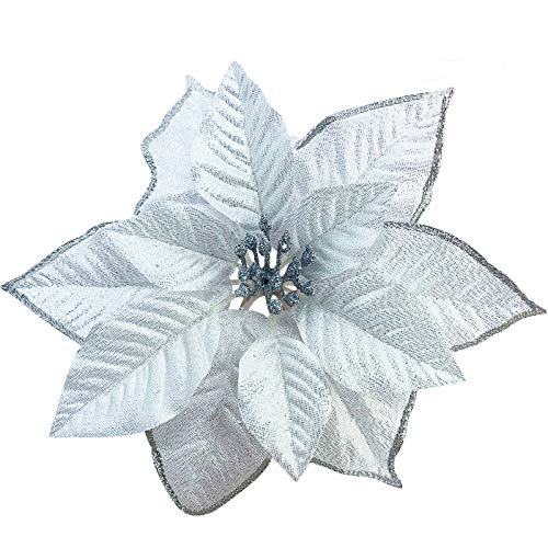 TURNMEON 8.7 Inch Giant Glitter Poinsettia, 12 Pcs Christmas Flowers Picks Decor Artificial Silk Flowers for Christmas Tree Ornaments Wreaths Garland Holiday Decoration (Silver)