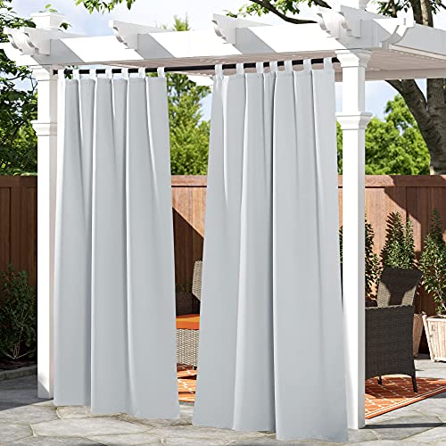 PONY DANCE Cortinas Salon Modernas - Cortinas Exterior Impermeable 1 Unidad, Blancas Gris, 132 x 213 cm (An x Al) / Tela Termicas Aislantes Insonorizantes Dormitorio Ventana Puerta