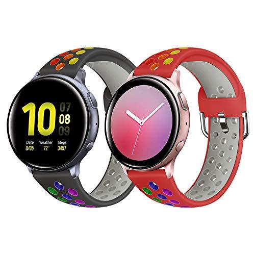 YPSNH Compatible para Samsung Galaxy Watch 3 41mm Correa de Silicona Suave de Doble Color 20mm Pulsera Deportiva de Repuesto para Galaxy Active/Active2/Galaxy Watch 42mm