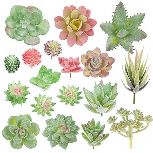 VINFUTUR 18 Pz Succulente Piante Artificiali Piante Grasse Finte per Giardino Interno e Esterno Decorazione Casa Davanzale Cucina Scrivania