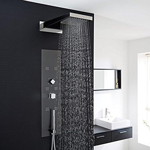 Hudson Reed Duschpaneel Unterputz - Thermostatische Duschsäule aus Edelstahl - Dunkelgrau - 900mm x 220mm x 2,4mm - Inkl. 6 Massagedüsen, Handbrause & Regendusche