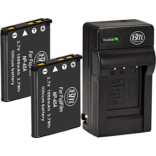 BM 2 NP-45A Batteries and Charger for Fujifilm INSTAX Mini 90, FinePix XP130, XP140, XP150, XP50, XP60, XP70, XP80, XP90, T350, T360, T400, T500, T510, T550, T560, JX520 JX550 JX580 JX590 JX700 JX710