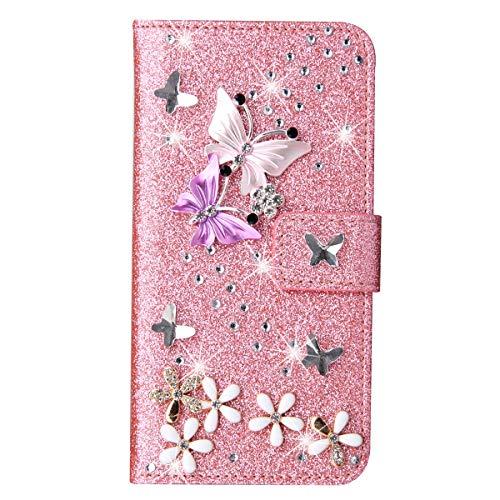 Blllue Funda tipo cartera compatible con Samsung Note 10 lite, Bling Color Mariposa Glitter Diamante Pu Cuero Flip Phone Cover para Samsung Note 10 Lite - Rosa