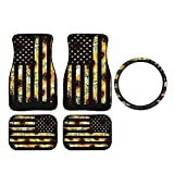 Retro American Flag Sunflower Car Floor Mat 5 Piece, Includes Car Front/Rear Floor Foot Mats Carpets Steering Wheel Cover, Universal Fit Accessories Car Interior Decorations