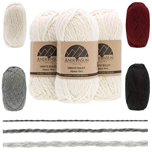 [ Set of 3 Small Gorgeous Skeins ] Alpaca Yarn Blend [ Umayo...