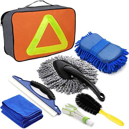 SaponinTree 7 Piezas Kit de Limpieza para Coche, Kit de Herramientas de Lavado de Coche, Esponja de Chenilla, Cepillo de Llantas, Rascador de Agua, Paño de Limpieza de Automóviles