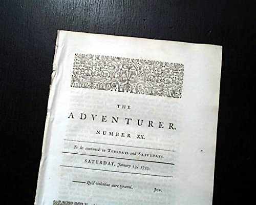 Samuel Limited time sale Johnson 1753 Newspaper Max 72% OFF THE John Hawkesworth ADVENTURER 18