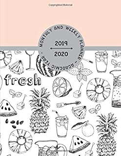 Monthly and Weekly Planner – Academic Year 2019 – 2020: Personal and Business Diary with Gratitude Section, Habit & Mood Tracker to Optimize your Daily Productivity / Pineapple Doodle Cover Image