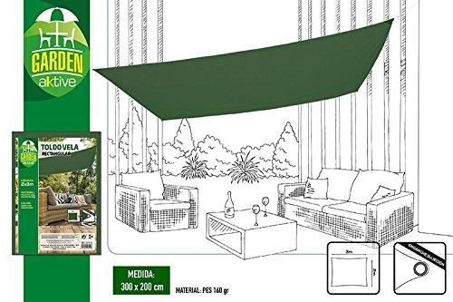 Aktive Garden 53919 - Toldo Vela Verde Oscuro 200 x 300 cm
