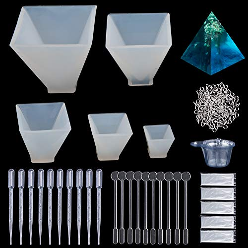 silikon Form Resin DIY Schmuck Gießformen für Harz, 5 Stück Silikon Pyramide Form Resin Anhänger Basteln Gießform+100 Stück Augenschrauben,Einweg-Plastikbecher,Rührer,Dropper,Einweg-Handschuhe