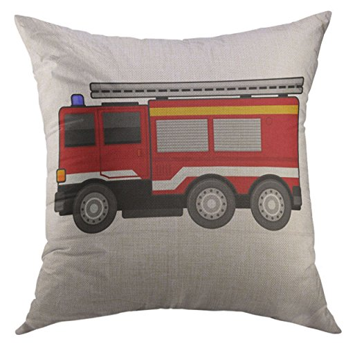 Mugod Decorative Throw Pillow Cover for Couch Sofa,Red Engine Fire Truck White Aid Assist Home Decor Pillow Case 18x18 Inch