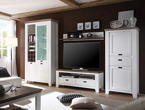 Wohnwand Barnelund Akazie weiß Medienwand TV-Wand TV-Möbel Wohnzimmer Landhausmöbel