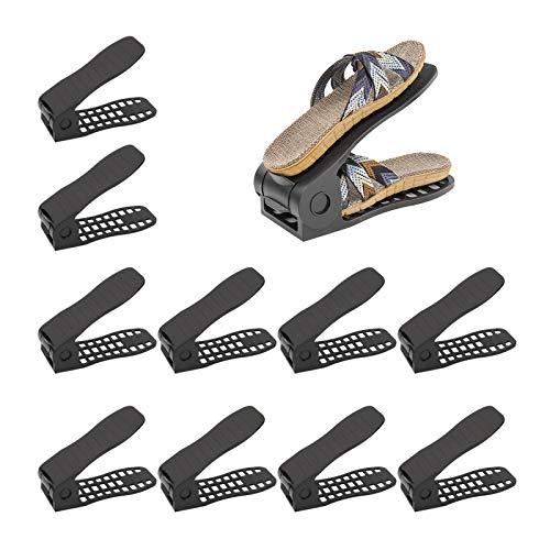 MorNon 10 Stück Einstellbare Schuhregale Verstellbarer Schuhstapler Schuhhalter Schuh Slots Kunststoff...