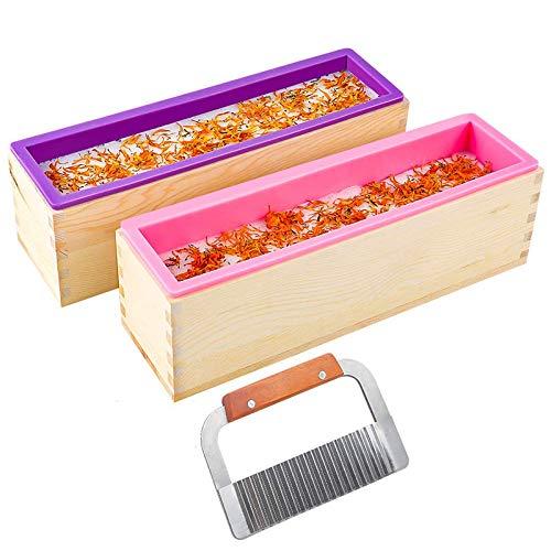ACAMPTAR 2Pcs 32Oz Laib Seifen Form, Rechteckige Silikon Form Set für die Herstellung Von Seife, mit Holz Kisten, mit Cutter