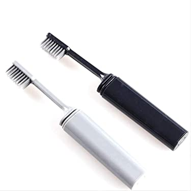 Bamboo Charcoal Folding Toothbrush for Travel Camping Holidays 2 Pack