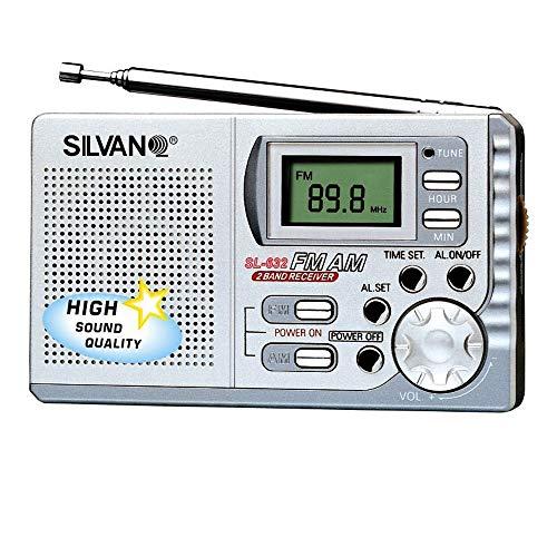 SILVANO Radio Digital de Bolsillo con Alarma. Ultra Ligera y pequeña. Auriculares incluidos. 2 Bandas FM Am. 9,2 x 5,4 x 2cm. Peso: 82g. Altavoz Integrado Correa de Mano.