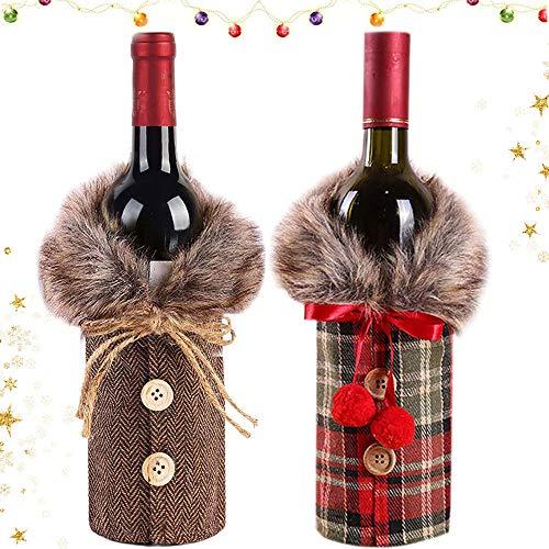 WELLXUNK Weihnachten Flaschen Deko Party Restaurant Weinflasche Flaschenanzug Flaschenüberzug Weihnachtsmann Hut Flaschebeutel Flaschetasche Geschenk (B)