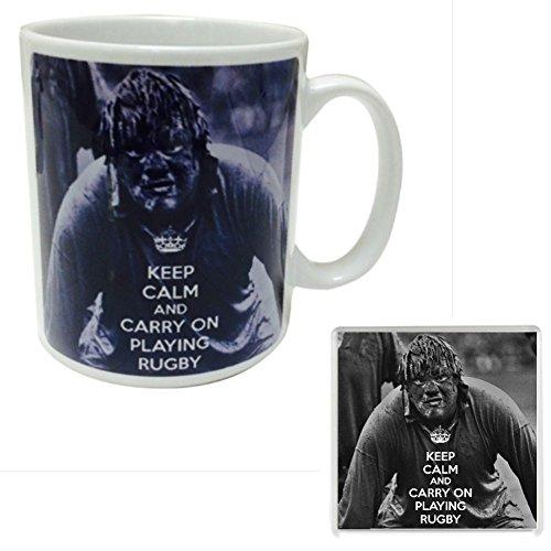 KEEP CALM CARRY ON spielt RUGBY Manschettenknöpfe Tasse aus Keramik und einen Untersetzer mit Abbildung einer schlammigen British Lions Spieler. Eine einzigartige Geburtstag, Vatertag ' Tag oder Weihnachtsgeschenk für A rugby player oder Fan.