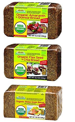 Mestemacher Organic Bread 3 Flavor Variety Bundle - (1) Each: Three Grain, Flax Seed Chia, and Amaranth Quinoa, 12.3-17.6 Ounces