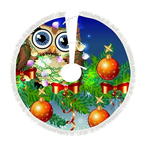 Top Carpenter 122x122 cm Plush Christmas Tree Skirt Owl Tangled in A Garland of Bulbs Holiday Tree Ornaments Tree Mat for Christmas Holiday Party Decor