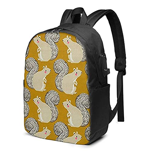 XCNGG Magic Forest Squirrels Business Laptop School Bookbag Travel Backpack with USB Charging Port & Headphone Port Fit 17 in