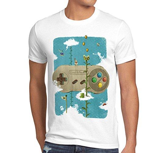 style3 16-Bit Nostalgie T-Shirt Herren SNES Mario super Kart 8-bit Yoshi, Größe:M, Farbe:Weiß