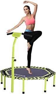 Newan 48 Silent Trampoline with Adjustable Handle Bar, Fitness Trampoline Bungee Rebounder Jumping Cardio Trainer Workout for Adults - Max Limit 330 lbs