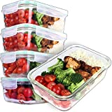 [5-Pack] Glass Meal Prep Containers - Food Prep Containers with snap locking Lids