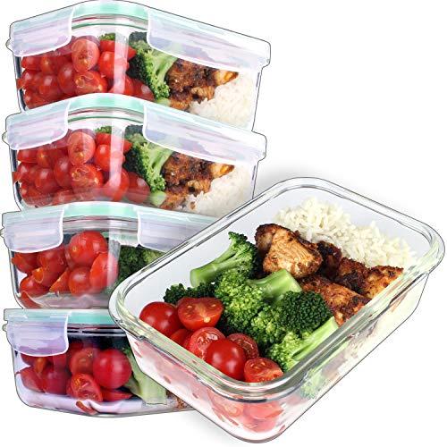 GOOD FOR YOU Recipientes de Vidrio para la preparación de Comidas - Recipientes De Vidrio con Tapas Horno y congelador Seguros-BPA Libre 850ml 28oz 3.5Tazas [5- Paquete]