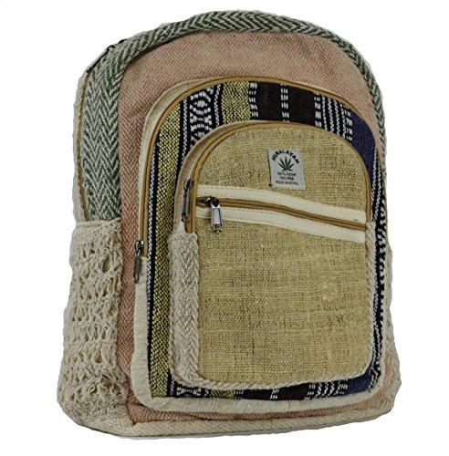 Negro y Blanco cáñamo lienzo mochila bolsa de la escuela–100%