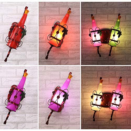 LED Retro Wine Bottle Background Muur Bedside-Wall Lamp Creativeiron Kaarshouder Wall Art Candle Opknoping Kandelaar Thuis Decoration1pcs,Red + 6 Watts