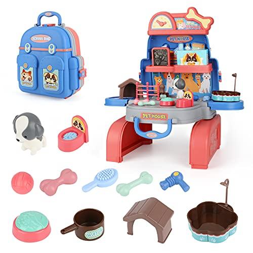E-More Juego de Cuidado de Mascotas Mascotas Juego de imaginación Juego de Juguetes con Mochila 26 pcs Juguetes Maletín de peluquería Canina con Accesorios y Perrito para 3+ años niños