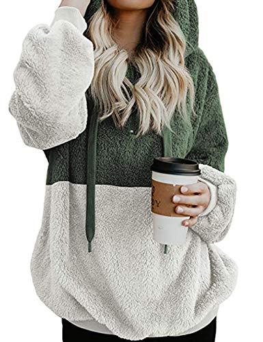Yieune Kapuzenpullover Damen Sweatshirt Lose Casual Pullover Strickjacken Cashmere Sweater Streetwear Pulli (Grün S)