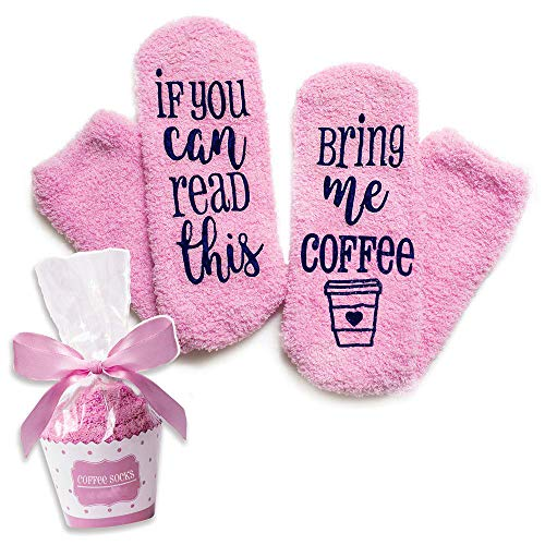 Mazheny wenn Sie dieses lesen können, holen mir Kaffee-Socke mit Kuchen-Geschenk-lustigen Kaffee-Liebhaber-Weihnachtsgeschenken Rosa