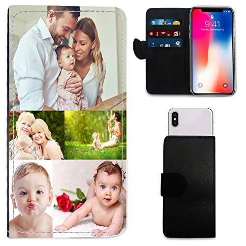 i-Tronixs Schutzhülle/Brieftaschen-Hülle für Mobiltelefone (15,2 cm / 15,2 cm), personalisierbar, mit Foto & Chrom-Schlüsselanhänger, 5 Pic Collage, Oppo RX17 Neo ()