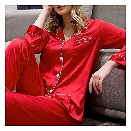 Mujer Satin Pijama Set - Conjunto De Pijama De 2 Piezas con Botones, Cárdigan De Seda Sintética,...