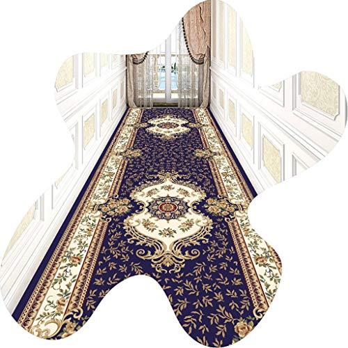 LIUXIUER Passatoia Corridoio, Motivo Floreale in Stile Etnico può Tagliare Tappetino Antiscivolo Facile da Pulire E Lavabile Senza Sbiadire per La Decorazione Domestica Scale Soggiorno,0.5x2m
