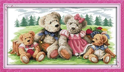 QQSGBD Amor Eterno de la Familia del Oso del Navidad de algodón ecológico Chinas Kits de Punto de Cruz contado Estampada (Color : 2, Cross Stitch Fabric CT Number : 14CT Stamped Product)