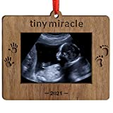 Creawoo 2021 Tiny Miracle Keepsake Ornament Sonogram Picture Frame Ultrasound Photo Frame Idea Gift...
