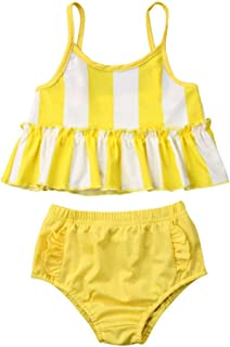 41dd902156 OKPEACE Baby Toddler Girls 2 Piece Swimsuit Yellow Striped Ruffle Tankini  Bathing Suit