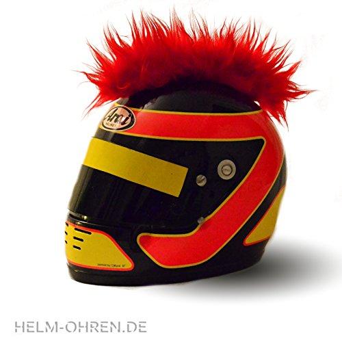 Helm-Irokese für den Skihelm, Snowboardhelm, Kinderskihelm, Kinderhelm, Motorradhelm oder Fahrradhelm – – Der HINGUCKER – Der etwas auffälligere Helm-Aufkleber – für Kinder und Erwachsene HELMDEKO (Rot) - 4