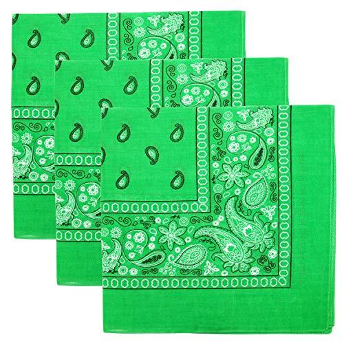 3 PK Cowboy Bandanas 100% Cotton 22 x 22 inch - Lime