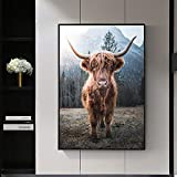 Ganado nórdico Buey Ganado Mural salón Ganado de montaña Arte de la Pared Lienzo Pintura al óleo Carteles e Impresiones,Pintura sin Marco,75x103cm