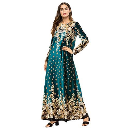 Lazzboy Angärmeliges Damenmode-Boutique-Kleid Mit Print Muslimische Roben Kleider Damen Islamische Druck Elegant Slim Lang Kleid Maxikleid Langarm Muslim Arab Dubai Kaftan Ramadan Gebet(4XL)