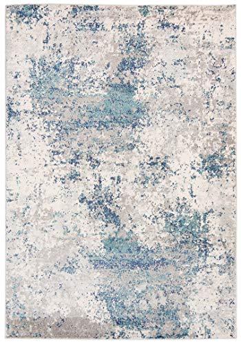 Venus - Alfombra moderna degradada y brillante para salón, dormitorio, salón, efecto carving azul, beige, gris pardo (G029A, 120 x 170 cm)