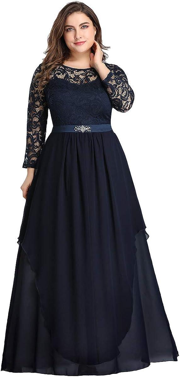 Ever-Pretty Women's Autumn Lace Long Sleeve Chiffon Plus Size Bridesmaid Dress 0759